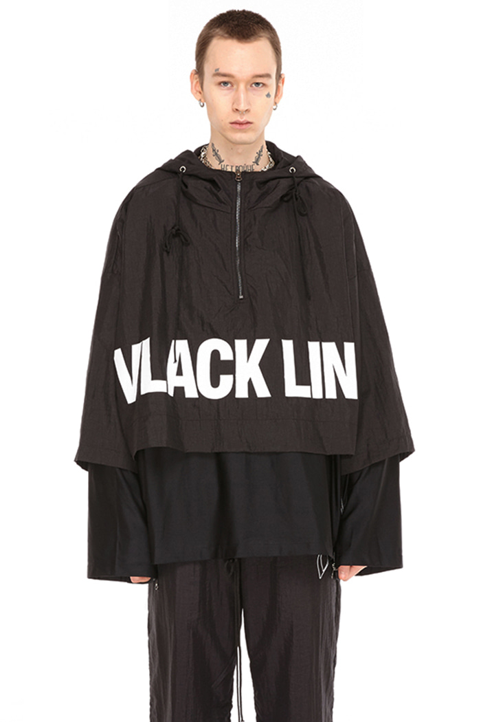DOUBLE COVERED CAPE HOODIE JACKET (BLACK)