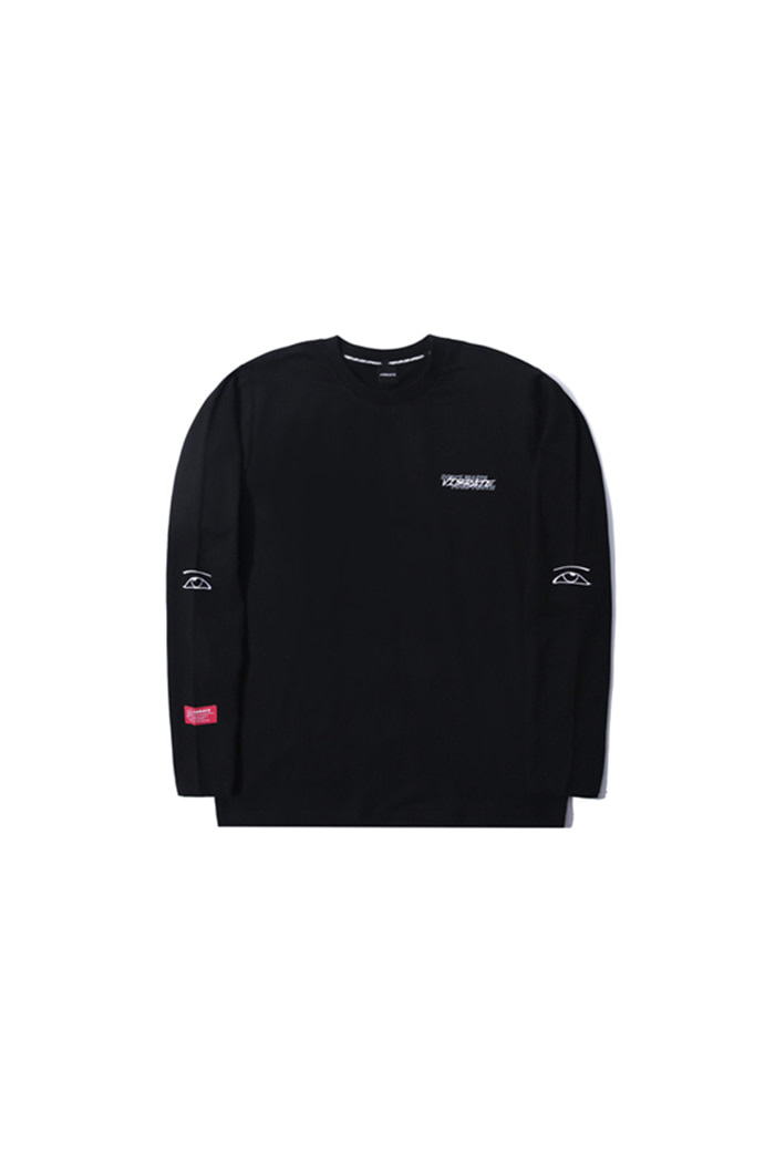 KEEP SMILING EMBROIDERY LONG SLEEVE (BLACK)