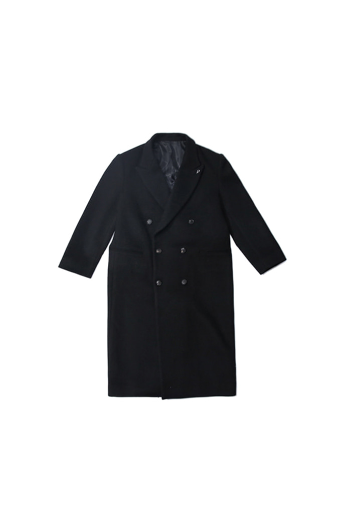 DOUBLE WOOL COAT (BLACK)