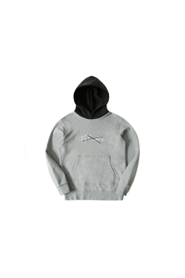 X COLOR COMBINATION HOODIE (GRAY&CHARCOAL)