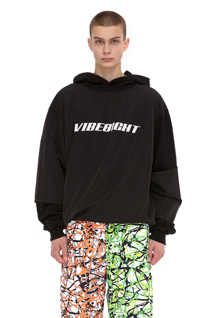 DOUBLE COLOR BLOCK HOODIE (BLACK)