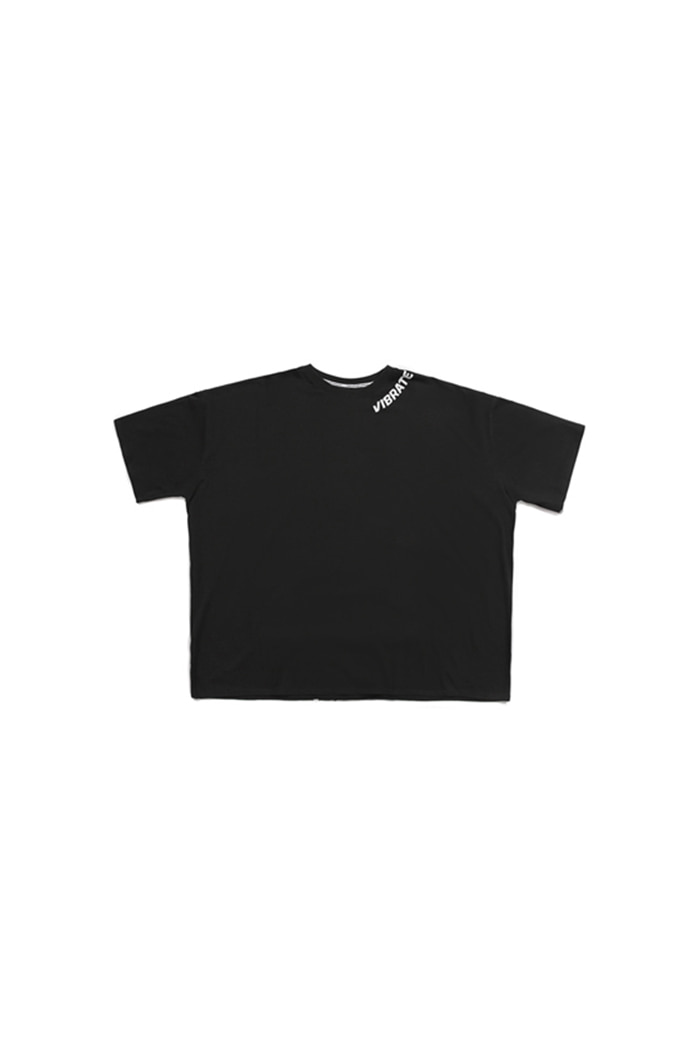 NECK LOGO FINGER PRINTING T-SHIRT (BLACK)