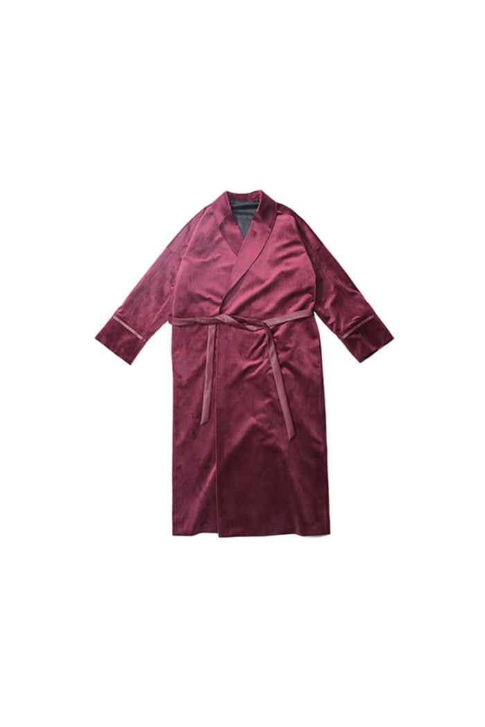 VELVET ROBE COAT (WINE)