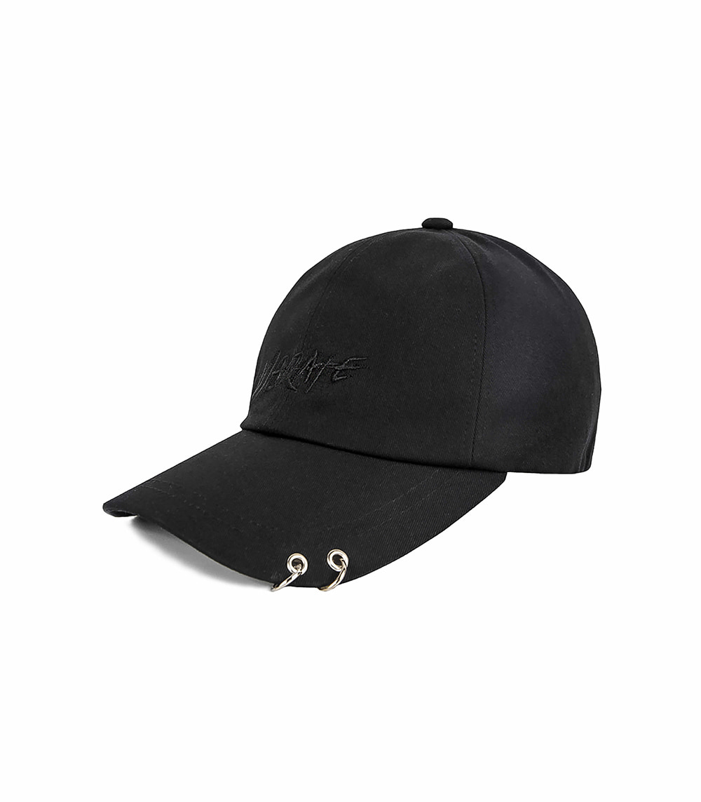TWIN RING BRUSH LETTERING BALL CAP (black)
