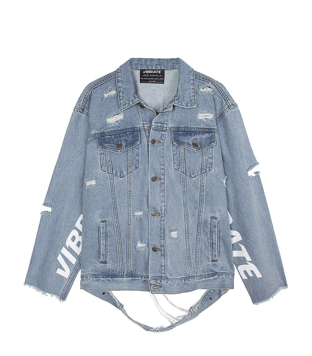 DAMAGED DENIM JACKET (OVERFIT,DENIM)