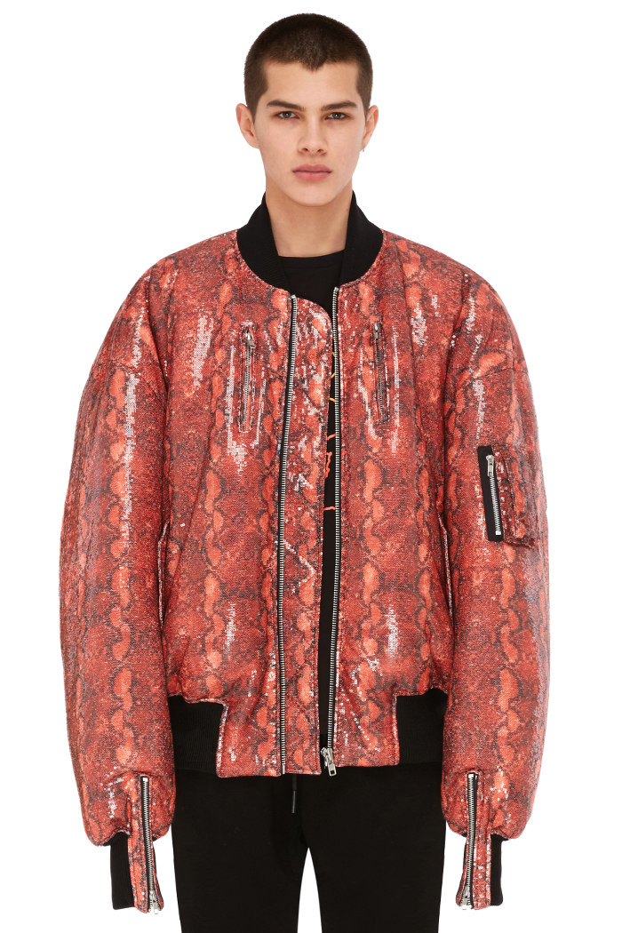 FAUX-PYTHON BOMBER JACKET (RED)