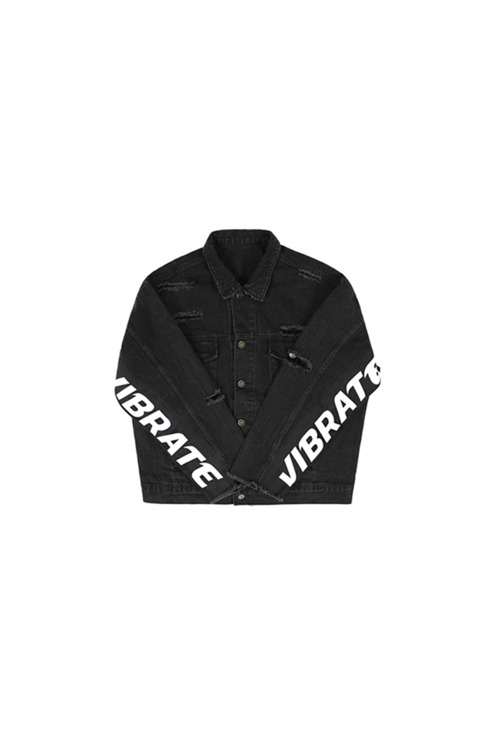DAMAGED DENIM JACKET (BLACK DENIM)