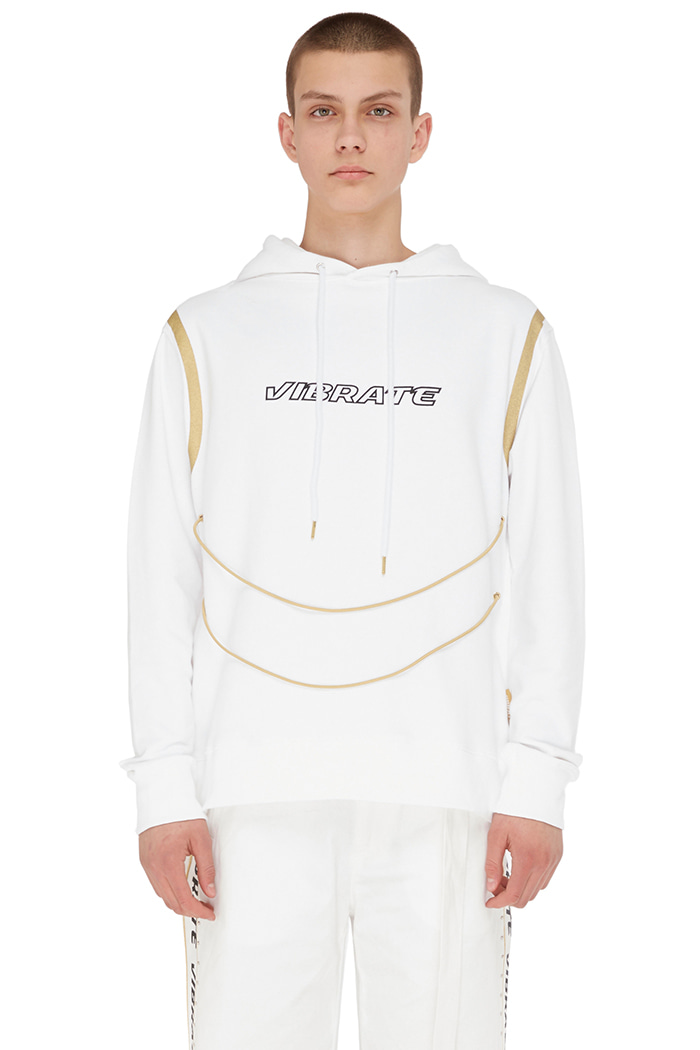 GOLDLINE STRING BODY POINT HOODIE (WHITE)