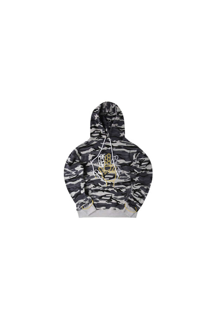 GOLDLINE SLEEVE STRING POINT HOODIE (BLACK CAMO)