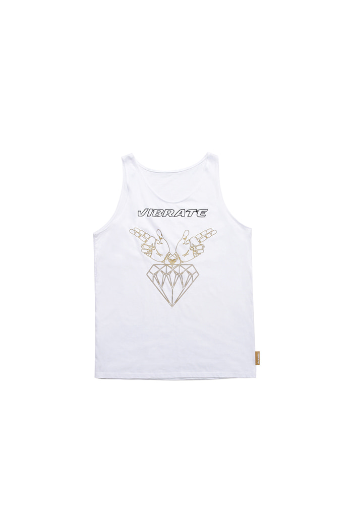 GOLD LOGO SLEEVELESS (WHITE)