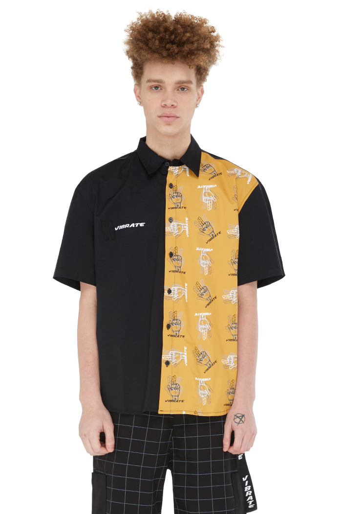 GOLDLINE FINGER PRINTED SHIRT (BLACK)