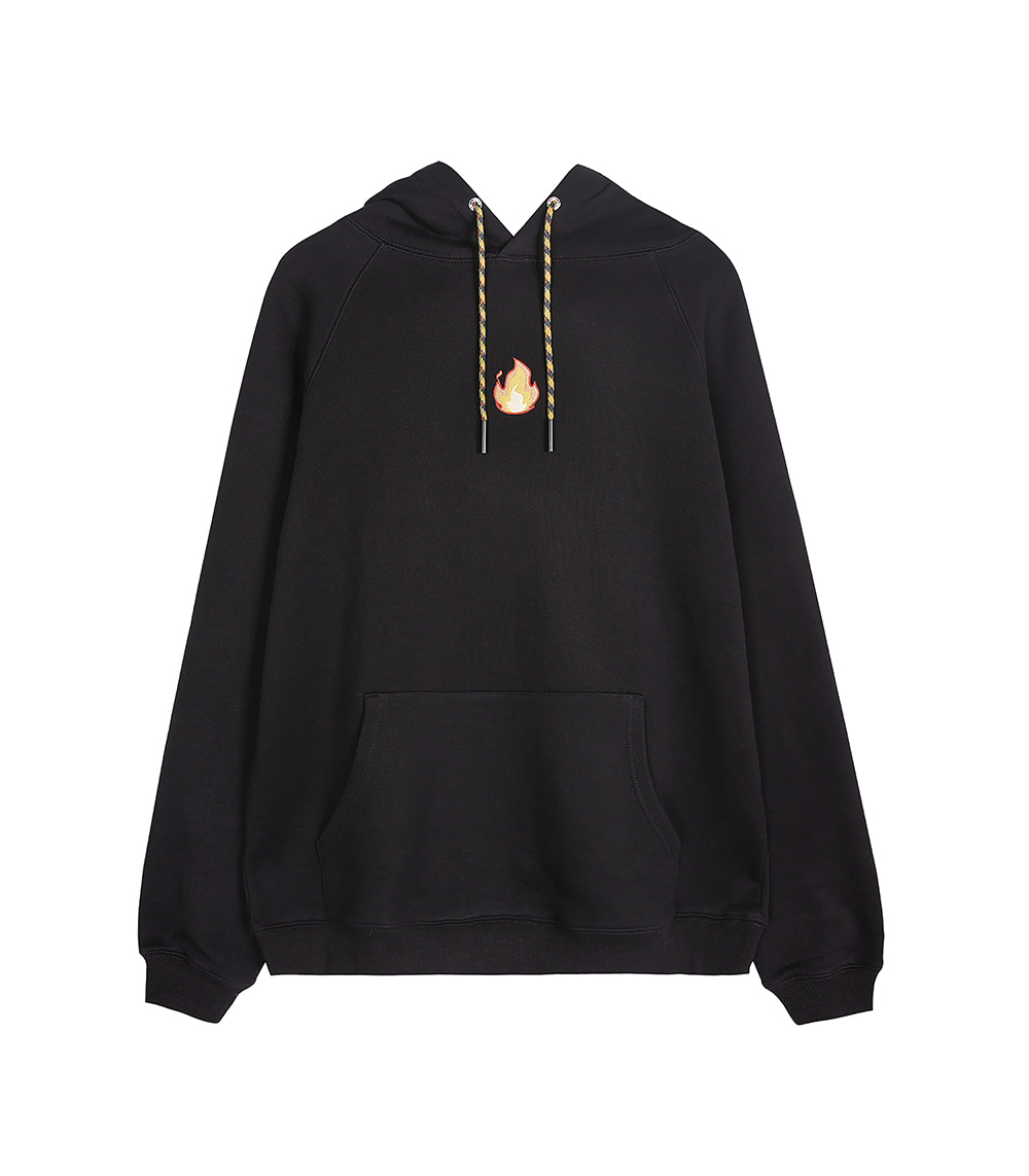 MINI FLAME BASIC HOODIE (BLACK)